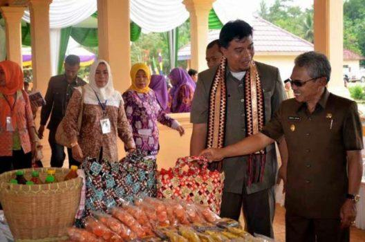 Ketua Tim Penilai Lomba Desa Provinsi Lampung didampingi Wakil Bupati mengunjungi stand kerajinan.