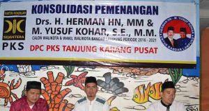 Ketua Kaderisasi DPC PKS Tanjungkarang PusatMardiono (kiri),Ketua DPD PKS Bandarlampung Aep Saripudin, dan Ketua DPC PKS Tanjungkarang Pusat Sofyan Sauri. (Ist).