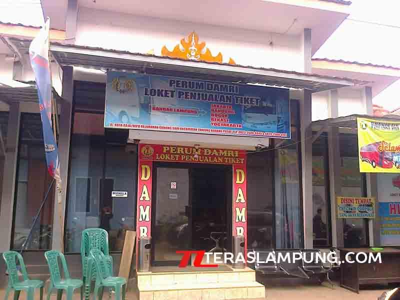 Loket Bus Damri di Kompleks Stasiun Tanjungkarang, Bandarlampung.