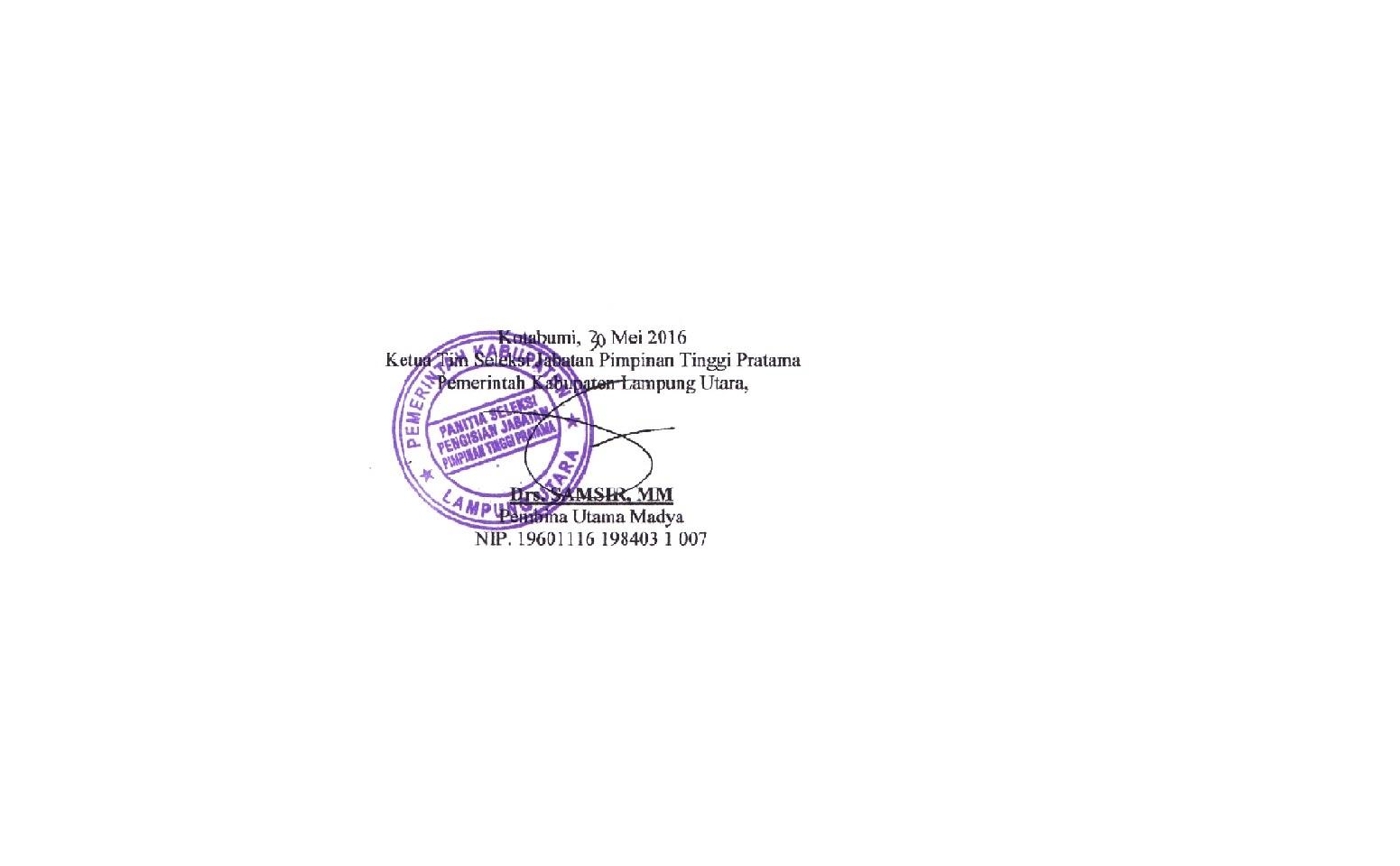 tanda tangan pejabat lampura
