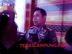 Kapolresta Bandarlampung Kombes Hari Nugroho menjelaskn status Nizar Romas, Jumat (22/7).