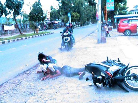 Kecelakaan di Kemiling, Dua Pengendara Sepeda Motor Luka-Luka