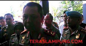 Kapolda Lampung, Irjen Pol Sudjarno saat memberikan keterangan terkait kedatangan dan pemeriksaan tim Paminal Mabes Polri di Mapolresta Bandarlampung