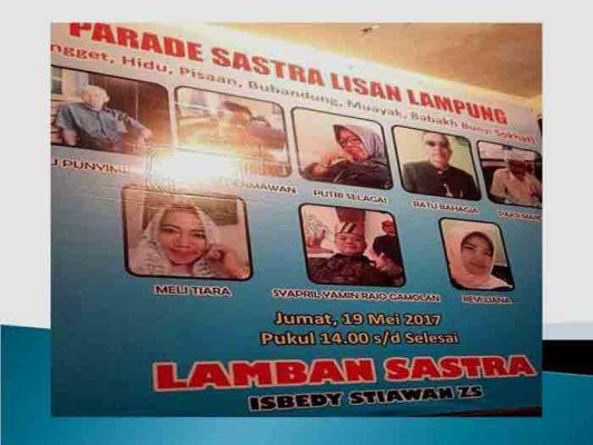 Jumat Sore, Parade Sastra Lisan Lampung Digelar di Lamban Sastra Isbedy Stiawan ZS