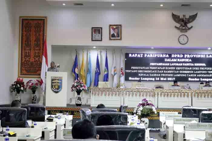 DPRD Lampung Gelar Rapat Paripurna Penyampaian Laporan Pansus LKPJ Gubernur Lampung 2016