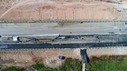 Jalan Tol Palembang – Indralaya yang Ambles Sudah Diperbaiki