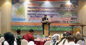 Rapat Koordinasi Daerah (Rakorda) Program Kependudukan, KB dan Pembangunan Keluarga Provinsi Lampung Tahun 2018 di Bandar Lampung, Rabu (28/03/2018).