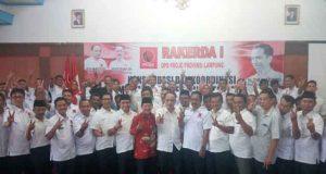 Herman HN (kemeja batik merah) pada acara Raker Projo Lampung.