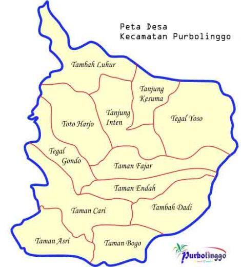 Peta Desa Kecamatan Purbolinggo,Lampung Timur (sumber: id.wikipedia.org)