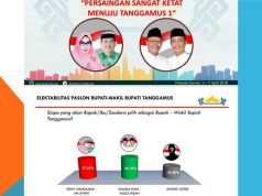 Peta persaingan kandidat kepala daerah-wakil kepala daerah pada Pilkada Tanggamus 2018 menurut survei Rakata Institute.