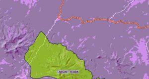 Peta kawasan hutan KPH Tangkit Tebak,Way Wawa, Lampung Utara (sumber: Kementerian LHK)