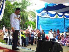 Agung Ilmu Mangkunegara berorasi di hadapan pendukungnya,Sabtu (28/4/2018).