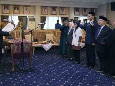 Pjs Gubernur Lampung Didik uprayitno melantik pejabat fungsional RSU Abdoel Moeloek, Selasa (24/4/2018).