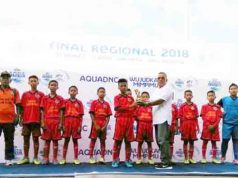 Tim Sekolah Sepak Bola Indraloka Jaya (SSB INJ) usia 12 tahun binaan Polres Tulangbawang meraih gelar juara 4 tingkat Nasional dalam ajang Festival sepak Bola Nasional Danone Cup anak dibawah usia 12 tahun yang dilaksanakan selama empat hari (29 Maret-1 April 2018) di Ciracas, Jakarta Timur. (foto Humas Polres Tuba)