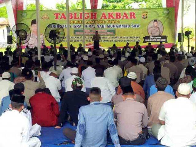 Tablig akbar di Polres Lampung Utara,Kamis (26/4/2018).