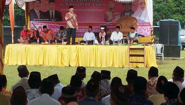Herman HN kampanye di lapangan Sumber Hadi, Melinting, Lampung Timur (Lamtim) pagi tadi (9/5).