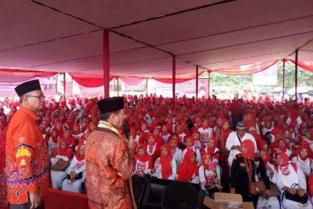 Herman HN dan Sutono kampanye di Way Halim,Bandarlampung,Kamis (10/5/2018).
