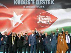 """Aksi solidaritas Palestina pada 18 Mei 2018 di Lapangan Yenikapi di Istanbul, Turki, usai agresi Israel di perbatasan Gaza. Demonstrasi ini digelar dengan tajuk """"Mengecam Penindasan, Mendukung al-Quds [Yerusalem]."""" ( Emrah Yorulmaz - Anadolu Agency )"""