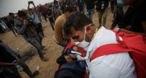 Seorang wartawan terluka saat meliput aksi protes di selatan Jalur Gaza,Jumat, 18 Mei 2018 - Wafa Images