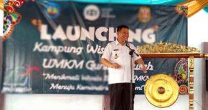 Yusuf Kohar pada acara peluncuranKampung Wisata Edukasi UMKM Kelurahan Gunungsulah, Kecamatan Way Halim, Rabu siang tadi (9/5/2018).