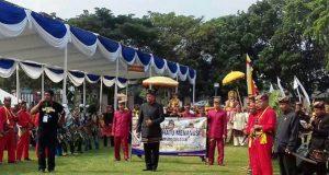 Pawai budaya dengan menampilkan enam marga yang ada di Lampung Selatan.