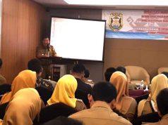 Plt Walikota Yusuf Kohar pada acara penandatanganan (MoU) antara Dinas PU, Dinas Kesehatan, Dinas Pendidikan Kebudayaan dan BPPRD dengan Kejaksaan Negeri Banadarlampung di Hotel Emersia, Senin (7/5/2018).