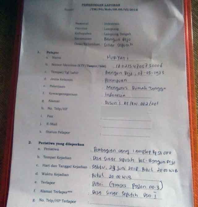 Laporan politik uang Pilgub Lampung yang diduga dilakukan pasangan Arinal Djunaidi-Chusnunia Chalim
