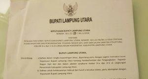 SK pembatalan/pengembalian jabatan kepada para pejabat eselon III yang ditandatangani oleh Plt Bupati Sri Widodo