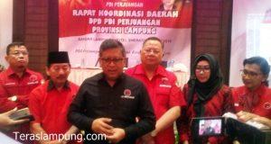 Sekjen DPP PDIP Hasto Kristiyanto menjelaskan langkah-langkah PDIP untuk menindaklanjuti dugaan politik uang dalam Pilgub Lampung, di Hotel Sheraton Bandarlamppung, Selasa, 3 Juli 2018.