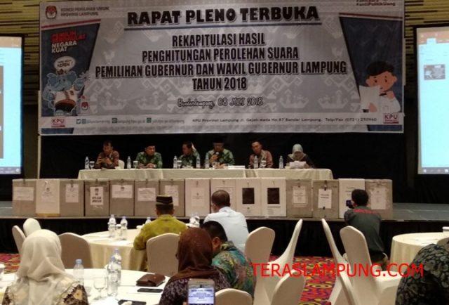 Rapat Pleno Penghitungan Suara Pilgub Lampung 2018 di Hotel Novotel Bandarlampung, Minggu pagi (8/7/2018. Foto: Teraslampung.com/Dandy Ibrahim