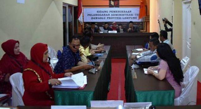 Sidang di Gakumdu Lampung terkait kasus dugaan money politics Pilgub Lampung secara terstruktur, sistematis, dan masif, Senin (9/7/2018)