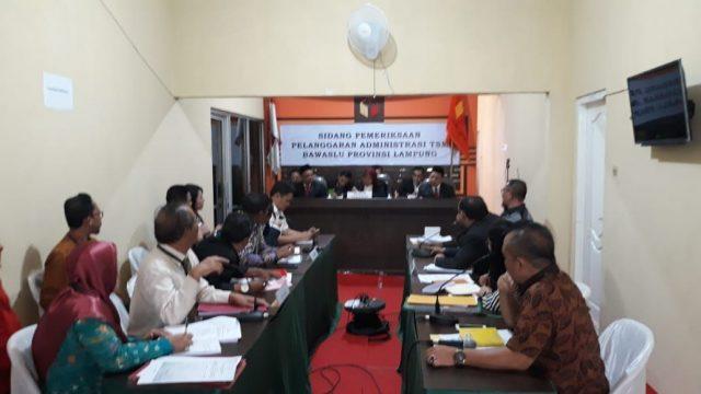 Sidang pemeriksaan pelanggaran administrasi dugaan politik uang secara terstruktur,sistematis, dan masif (TTSM) di kantor Gakumdu Bandarlampung,Jumat (6/7/2018).