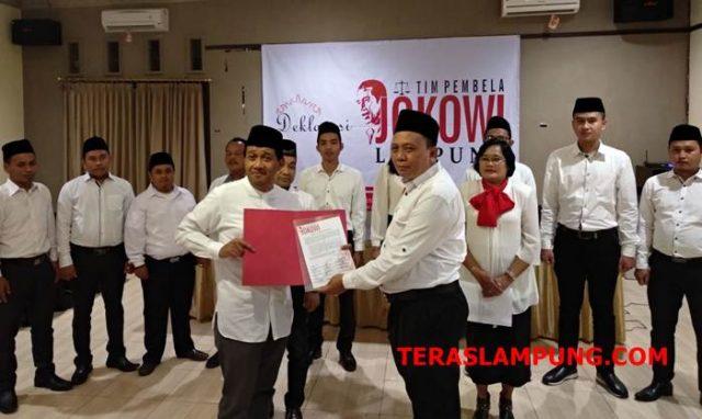 Dewan Pengarah Nasional Tim Pembela Jokowi Rambun Tjajo bersama Koordinator tim Pembela Jokowi Lampung, Faisal Chudari