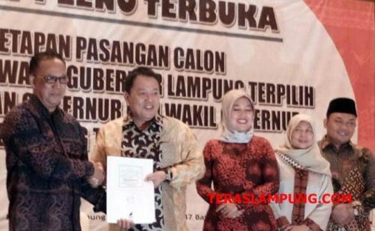 Ditetapkan Jadi Pemenang Pilgub Lampung, Ini Perolehan Suara Arinal-Nunik