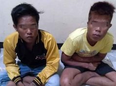 Ando Andista (21) dan Dudis Saputra Jaya (18) buruh penebang tebu di PT. Gula Putih Mataram (PT. GPM) yang dibekuk petugas Unit Reskrim Polsek Seputihmataram, Lampung Tengah.