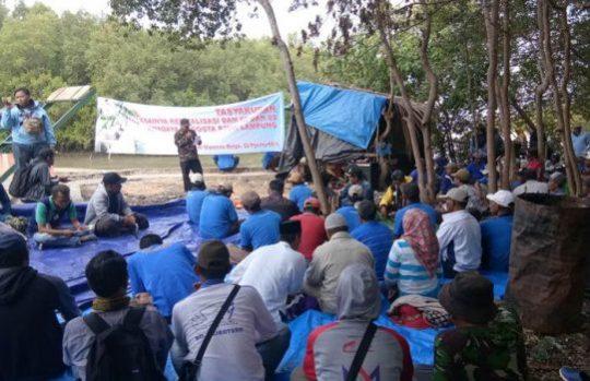 Syukuran selesainya revitalisasi dam di pertambakan Bumi Dipasena (Foto: Ari Suharso)