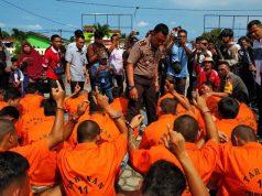 Kapolres Lampung Selatan, AKBP M Syarhan saat pres reles ungkap kasus hasil Operasi Sikat Krakatau 2018.