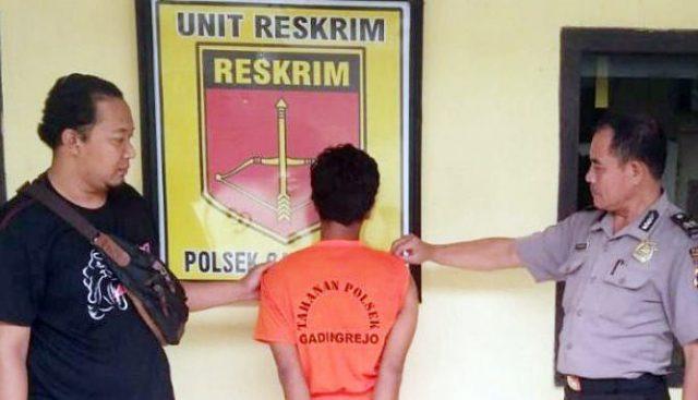 Yatino (36), warga Desa Karang Rejo, Kecamatan Bunga Mayang, Lampung Utara yang diamankan di Mapolsek Gading Rejo.