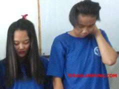 Adina alias AR (kanan), warga Bogor, Jawa Barat,, dan Adinda alias ADU, warga Bandarlampung yang ditangkap petugas BNNP Lampung kerana kedapatan membawa 500 gram sabu-sabu.