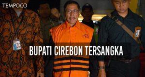 Komisi Pemberantasan Korupsi (KPK) menetapkan Bupati Cirebon Sunjaya Purwadisastra sebagai tersangka dalam kasus dugaan korupsi menerima hadiah atau janji terkait mutasi, rotasi dan promosi jabatan di pemerintahan Cirebon. ANTARA/SIGID KURNIAWAN