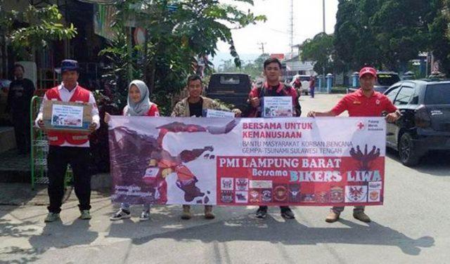 Para relawan PMI Lampung Barat dan Biker Liwa, galang donasi bantu korban bencana alam Palu, Sigi dan Donggala, Sulawesi Tengah
