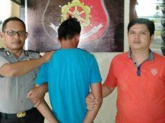 Tersangka HR (28), warga Pekon Way Liwok, Kecamatan Wonosobo diamankan petugas Polsek Wonosobo