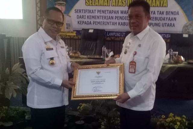 Inilah Tiga Sertifikat Warisan Budaya tak Benda untuk Lampung Utara