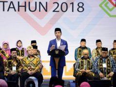 Presiden Jokowi Widodo membuka Silaknas ICMI di UBL,Bandarlampung, Kamis malam (6/12/2018).