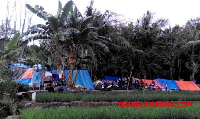 Warga yang terkena dampak gelombang tsunami di pesisir Kalianda, Lampung Selatan yang memilih tetap mengungsi di lereng kaki gunung rajabasa.menggunakan tenda terpal seadanya.