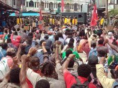 Massa aksi yang terakomodir dalam KNPB ketika melakukan aksi damai - (Jubi/Hengky Yeimo)