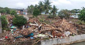 Danpak tsunami Selat Sunda di Desa Kunjir, Kalianda, Lampung Selatan. Foto:Ichwanto M.Nuh