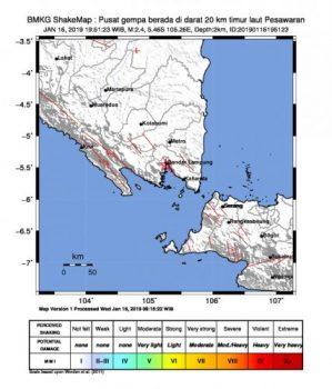 Pusat gempa di Kabupaten Pesawaran pada Rabu malam,16 Januari 2019.