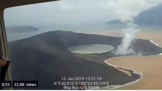Inilah Penampakan Gunung Anak Krakatau pada 13 Januari 2019
