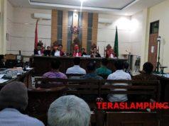 Sidang lanjutan kasus fee proyek Dinas PUPRLampung Selatan , dengan terdakwa Bupati Lampung Selatan nonaktif Zainudin Hasan,di PN Tipikor Tanjungkarang, Senin (14/1/2019).